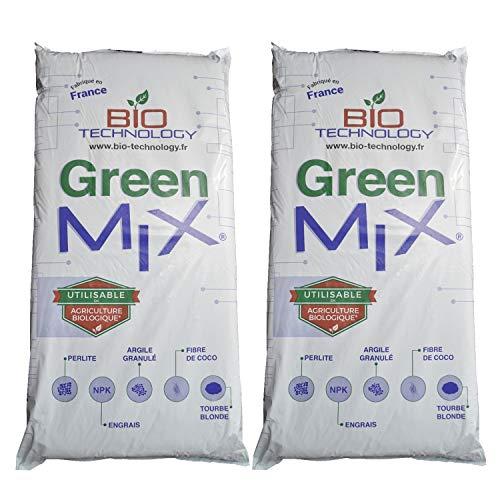 Bio Technology® | Terreau Light Mix | Terreau Universel | Rempotage Croissance et Floraison | Oxygen + | Fabriqué en France | Pack | Green Mix 50L x 2