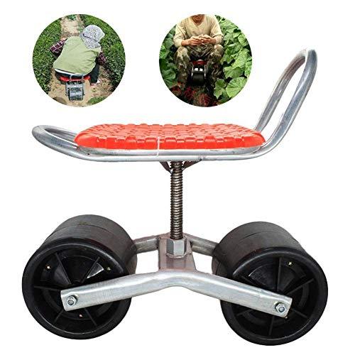 CRZJ Scoot de Jardin avec siège pivotant Siège pivotant à 360 degrés réglable pour désherber, Entretenir et Entretenir…