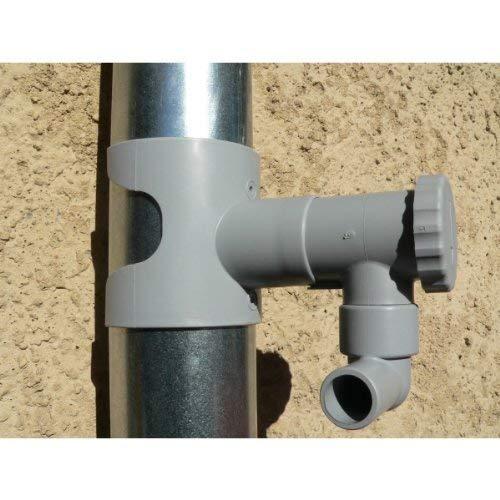 Capt'eau Récupérateur d'eau de Pluie pour conduits Circulaire (Gris) + 1 Metre Tuyau