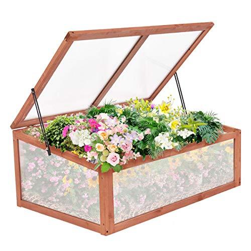 Costway Serre en Bois Serre de Jardin pour Fruits Plantes Balcon Jardinage 100 x 65 x 40 cm Facile à Assembler