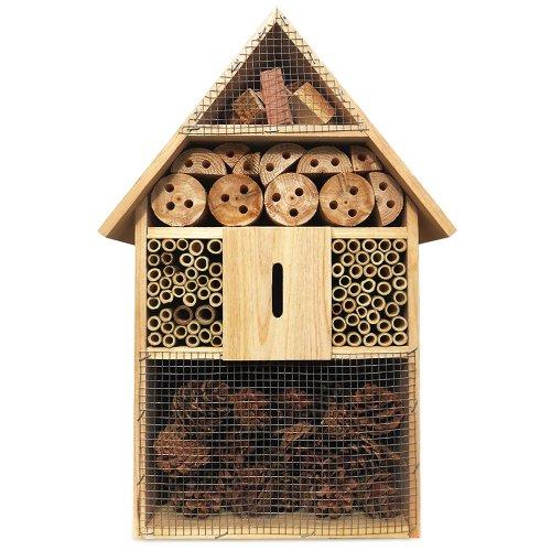 Deuba Hôtel à Insecte XXL en Bois Naturel – 48 cm x 31 cm x 10 cm – Abri Insecte Protection Hiver
