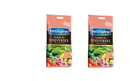 FERTILIGENE Terreau Universel 12l utilisable en Agriculture Biologique Toutes Plantes intérieur et extérieur Lot de 2 FUNIB6