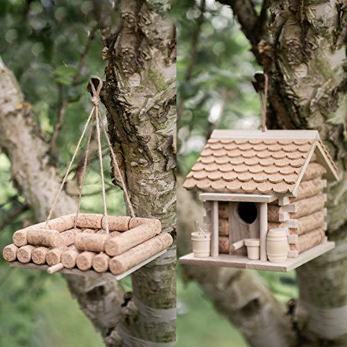 Garden Mile® Mangeoire à oiseaux en liège et en bois à suspendre pour le jardin Décoration de jardin Nichoir et table à oiseaux