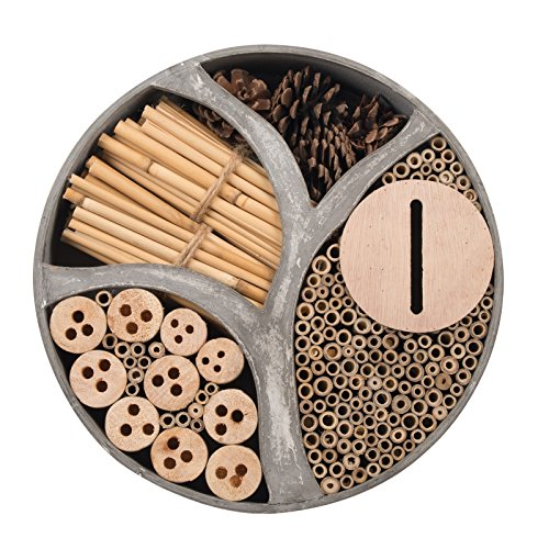 Gardigo 90567 – Hôtel à Insectes Rond en Bois Naturel/Bambou; Refuge pour Hibernation/Nidification; Maison, Abri…