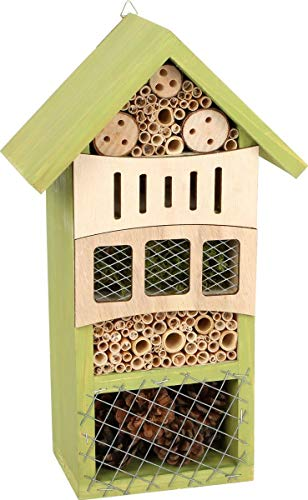 Hôtel à insectes Verdure en bois avec dispositif de suspension pratique, aide d'hivernation et couvée pour insectes…