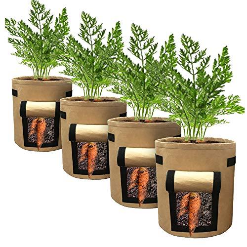 IWTTWY 4PCS Sacs à Plantes Semis Sacs de Culture avec Fenêtre à Rabat et Poignées Planteur pour Légumes Fleurs Herbes Pomme de Terre Tomate Carotte (15L, Marron)