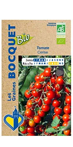 Les Graines Bocquet – Graines de Tomate cerise- Certifiée ECOCERT FR-BIO-01- Graines potagères à semer- Sachet de 0.1Gr