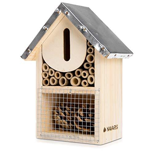 Navaris Hôtel à Insectes Bois – Maison pour Insectes 20 x 15 x 8 cm – Refuge Abeille Coccinelle Papillon Insecte Volant…