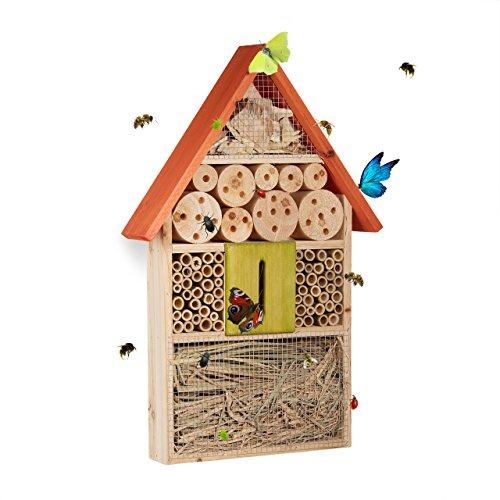 Relaxdays, orange Hôtel à insectes à suspendre maison à papillon bois jardin balcon abeilles coccinelles HxlxP: 48,5 x…