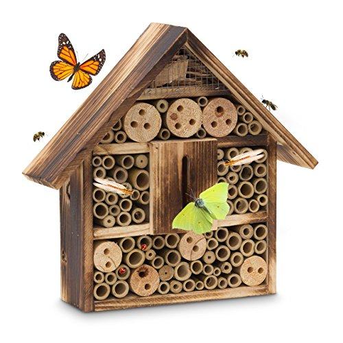 Relaxdays Hôtel à insectes toit plat en bois naturel brûlé HxLxP 28,5 x 30 x 9 cm maison à insectes, nature