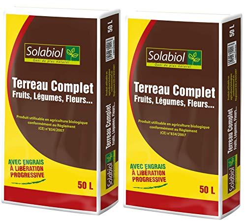 SOLABIOL TERCOMP50 TERREAU Complet 2×50 L | Jusqu'à 5 Mois de Nutrition, Utilisable en Agriculture Biologique