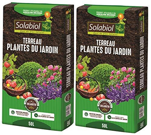 SOLABIOL TERJARDI50 TERREAU Plantes du Jardin 2×50 | L Jusqu'à 5 Mois de Nutrition, Utilisable en Agriculture Biologique