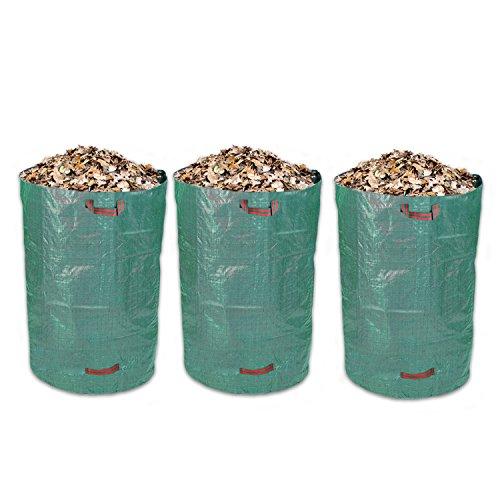 Schramm® 3 pièces Sacs de Jardin 300L Vert Tissu polypropylène Robuste Sac de Jardin PP Sacs de Jardin déchets Verts Big…