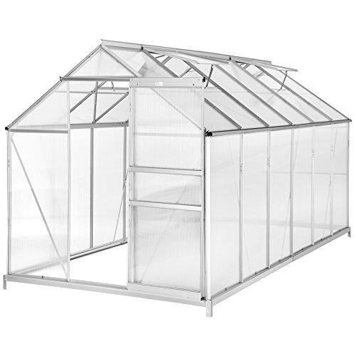 TecTake Serre de Jardin avec Base alu Polycarbonate Tente abri Plante Jardinage – diverses modèles (375x185x195cm avec…