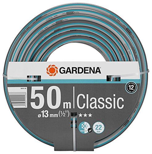 Tuyau GARDENA Classic 13 mm (1/2 «), 50 m: Tuyau de jardin universel en tissu croisé robuste, pression d'éclatement de 22 bars, résistant à la pression et aux UV (18010-20).