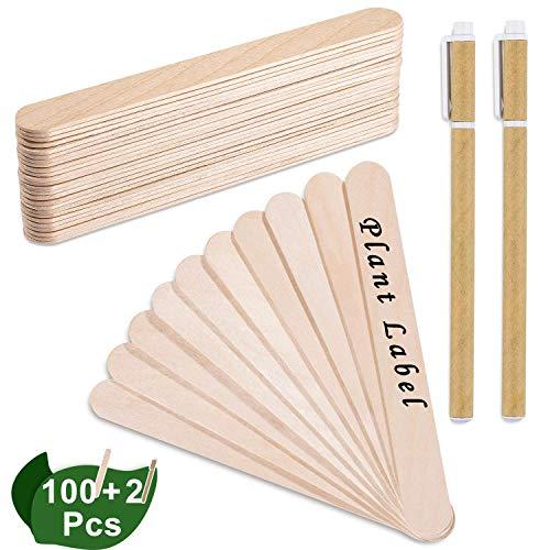 Whaline Lot de 100 étiquettes pour plantes en bois avec 2 stylos à gel, tête ronde en bois de bouleau, étiquettes de…