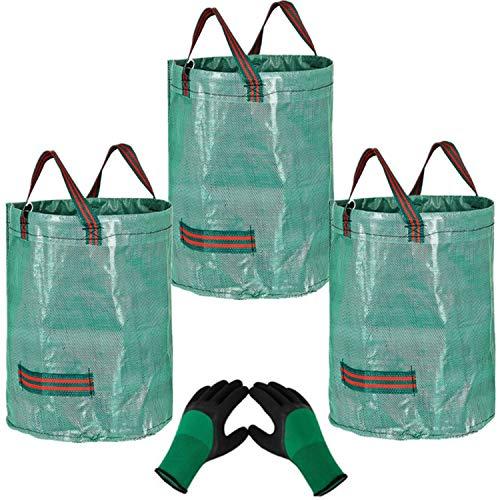 YAAVAAW 3x272L Sacs de Jardin avec 1 Paire de Gants de Jardinage-Réutilisable Sacs de Déchets de Jardin,Autoportante et…