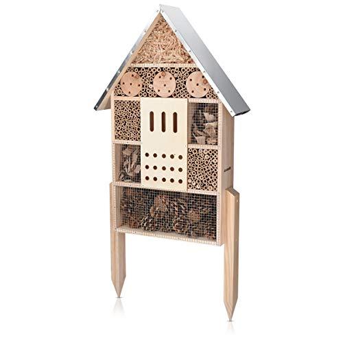 Navaris Hôtel à Insecte Bois – Cabane Abri XL 38 x 11,5 x 57 cm avec 2 Piquets – Nid Nichoir pour Abeilles Papillons et…