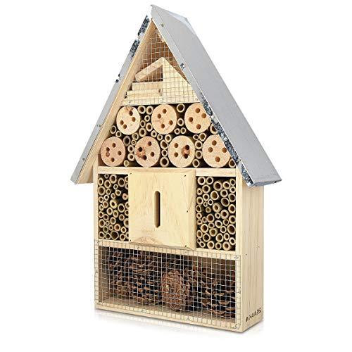 Navaris Hôtel à Insecte Bois – Cabane abri XL 40 x 23 x 7 cm – Maisonnette Refuge Toit métal Abeille Coccinelle Papillon…