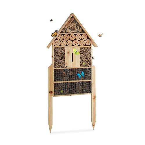 Relaxdays Hôtel à insectes sur pied nature XXL abri refuge nichoir maison abeille papillon coccinelles HxlxP: 79 x 49 x…