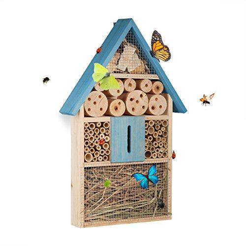 Relaxdays, bleu Hôtel à insectes à suspendre maison à papillon bois jardin balcon abeilles coccinelles HxlxP: 48,5 x 31…